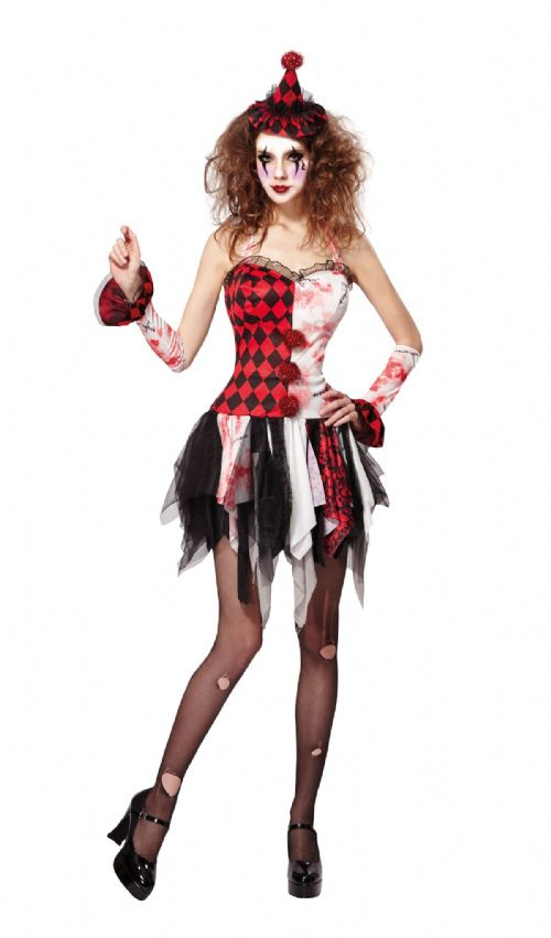 Ladies Jester Lady Scary Costume Circus Clown Joachim Fancy Dress Outfit